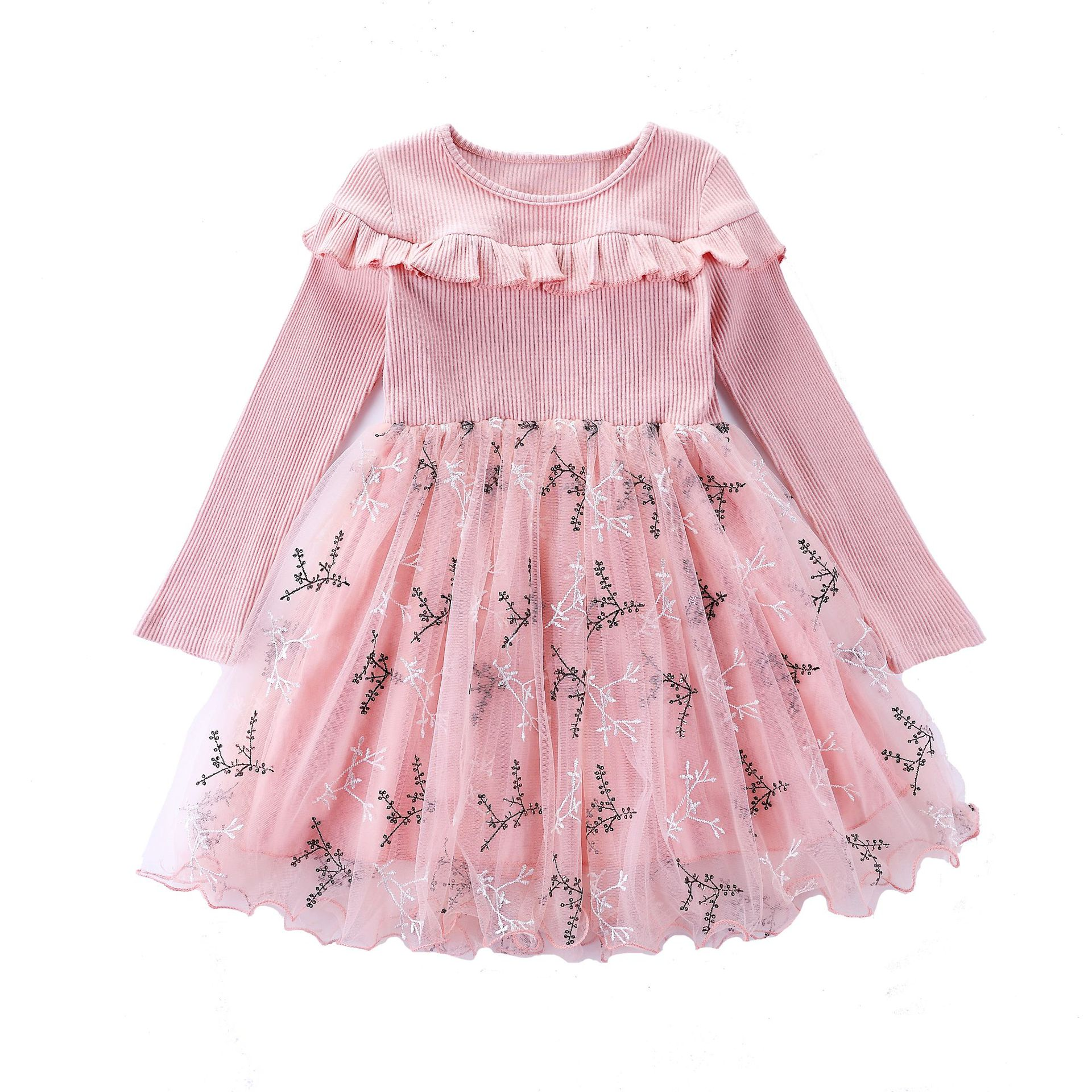 Spring Autumn New Girls Cotton Long-sleeved Knitting Dress Girls Floral Print Baby Girl Princess Dress Christmas Dresses CA133 baby girl clothes pretty girls dress lovely floral print long sleeve flower kids dress princess dresses spring autumn 2 colors