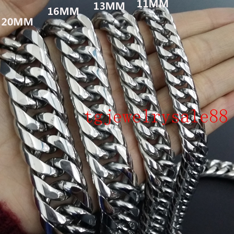 9/11/13/16/18mm Wide Cuban Curb Link Chain Mens Stainless Steel Polishing Silver Tone Bracelet Or Necklace Jewelry 7-40