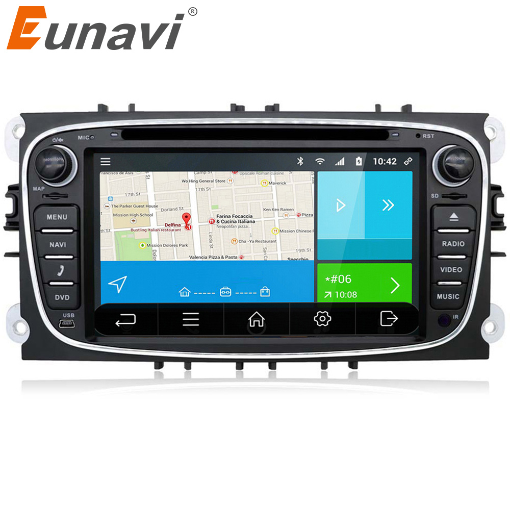 Eunavi 2 din 7 inch Android 7.1 Quad Core Car DVD GPS Player Navi for Ford Focus Mondeo Galaxy with Audio Radio Stereo Head Unit