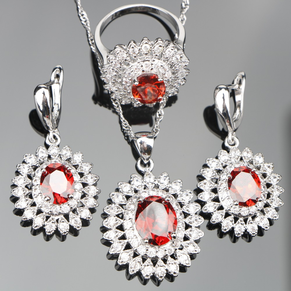 Round Red Zircon 925 Sterling Silver Jewelry Sets Women Earrings With Stones Pendant&Necklace Rings Set Jewelery Gift Box