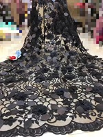 Beautifical nigerian lace fabrics 3d appliques lace sequins fabric for wedding 2019 New black french lace beads fabric ML1N763