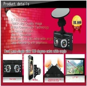 2013 NEW ARRIVAL BL800 Novatek 96632 1080P 2.7LTPS 180degree A+grade high-resolution ultra-wide-angle lens