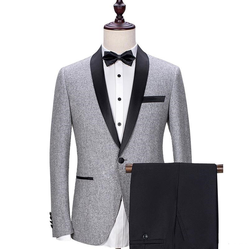 Gray Wedding Groom Tuxedos 2018 Black Shawl Lapel Trim Fit Mens Suits Custom Made Business Party Groomsmen Suit (Jacket + Pants)