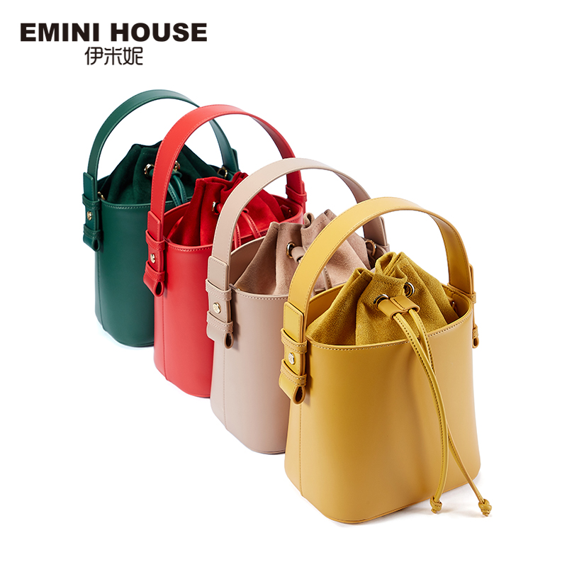 EMINI HOUSE String Closure Bucket Bag Crossbody Bags For Women Luxury Handbags Women Bags Designer Shoulder Bag 4 Colors on Sale-in Shoulder Bags from Luggage & Bags    2