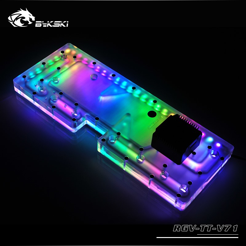 BYKSKI Acrylic Board Water Channel Solution use for ThermalTake/Tt V71 for CPU GPU Block / 3PIN RGB / Instead of Reservoir