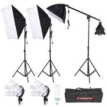 Stüdyo Aydınlatma Portre Ürün Softbox Işık Çadırı Takımı Softbox 4in1 ampuller soket 24 W/175 W Işık Günışığı Ampuller 2 M Işık Standı
