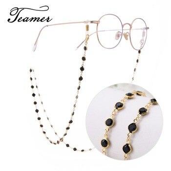 Teamer 78 سنتيمتر الأسود كريستال الخرز النظارات سلاسل الذهب أزياء النساء الرجال النظارات الملحقات النظارات الشمسية الحبل الشريط الحبل