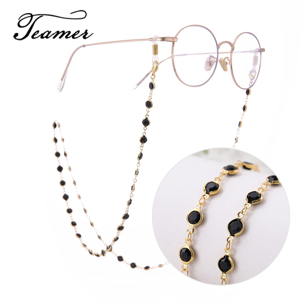 Teamer 78cm Black Crystal Beads Glasses Chains Gold Fashion Women Men Eyewear Accessories Sunglasses Lanyard Strap Cord