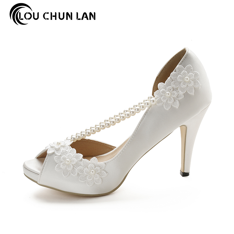 LOUCHUNLAN Woman Shoes Open Toe Lace Flower Stain String Bead Wedding Shoes  High heels Dress Shoes 87e993c9f376