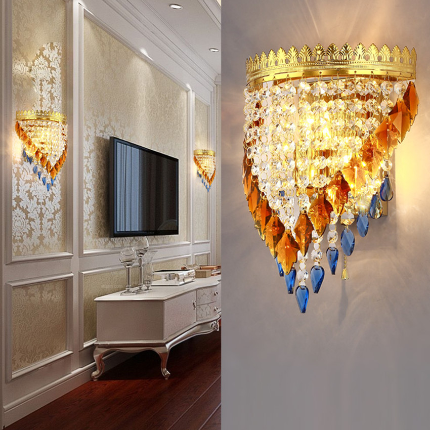 220 v led mode kristal wandlamp gouden slaapkamer woonkamer achtergrond muur hotel decoratie muur lichtblauw bruin crystal in 220 v led mode kristal