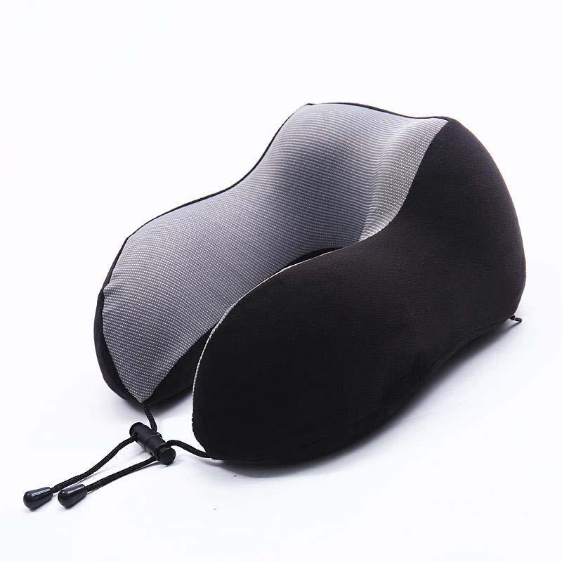 Портативная Регулируемая u-образная дорожная подушка медленный отскок пены памяти для дома офиса подушка для шеи в автомобиль подушки самолета - Цвет: black