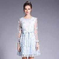 3D Flor Sheer Vestido de Malha Plus Size Mulheres de Cintura Empate uma Linha de Mini Vestidos de Festa 2017 Azul l para 4xl 5xl