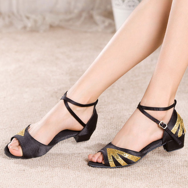 3a3d1e103a US $9.98 30% OFF|Girls Latin Dance Shoes Open Toe Ballroom Tango Salsa  Dancing Practice Shoes Low Heeled Sandals-in Dance shoes from Sports & ...