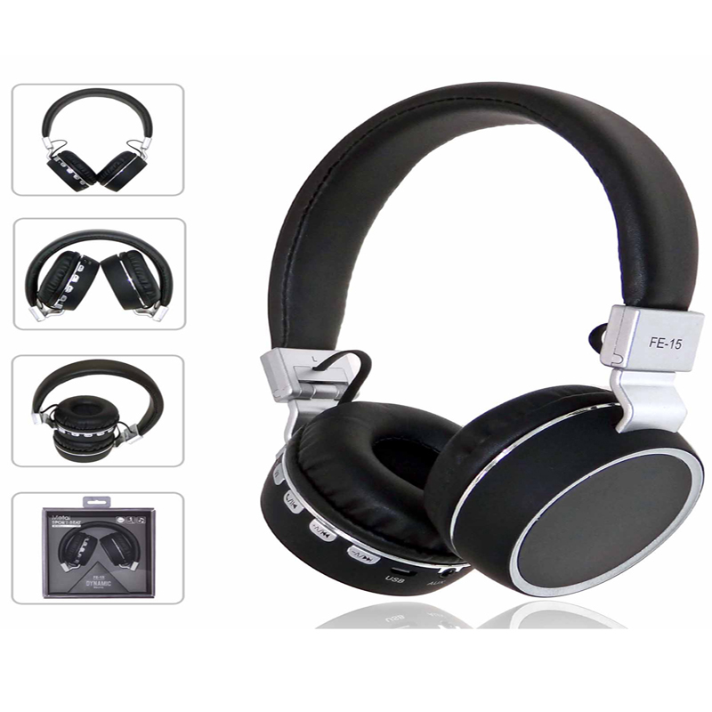 Headphone bluetooth headset folding plug-in card FM radio metal texture with microphone color stylish double bass stereo FE-15