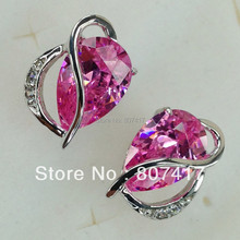 SHUNXUNZE Silver Plated Promotion Noble Generous Shinning Brand New Pink Cubic Zirconia Earrings R871 Engagement Wedding Vintage