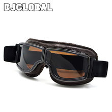 2019 Motorcycle Goggles WWII Vintage for Harley style Pilot Motorbike goggles Retro Jet Helmet Eyewear 5 color Frame(China)