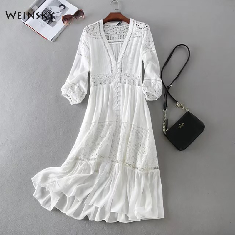 Weinsky Vintage Casual Women White Embroidery Floral Elegant Beach Dress Full Sleeve 2018 Spring Summer Ladies Drsses