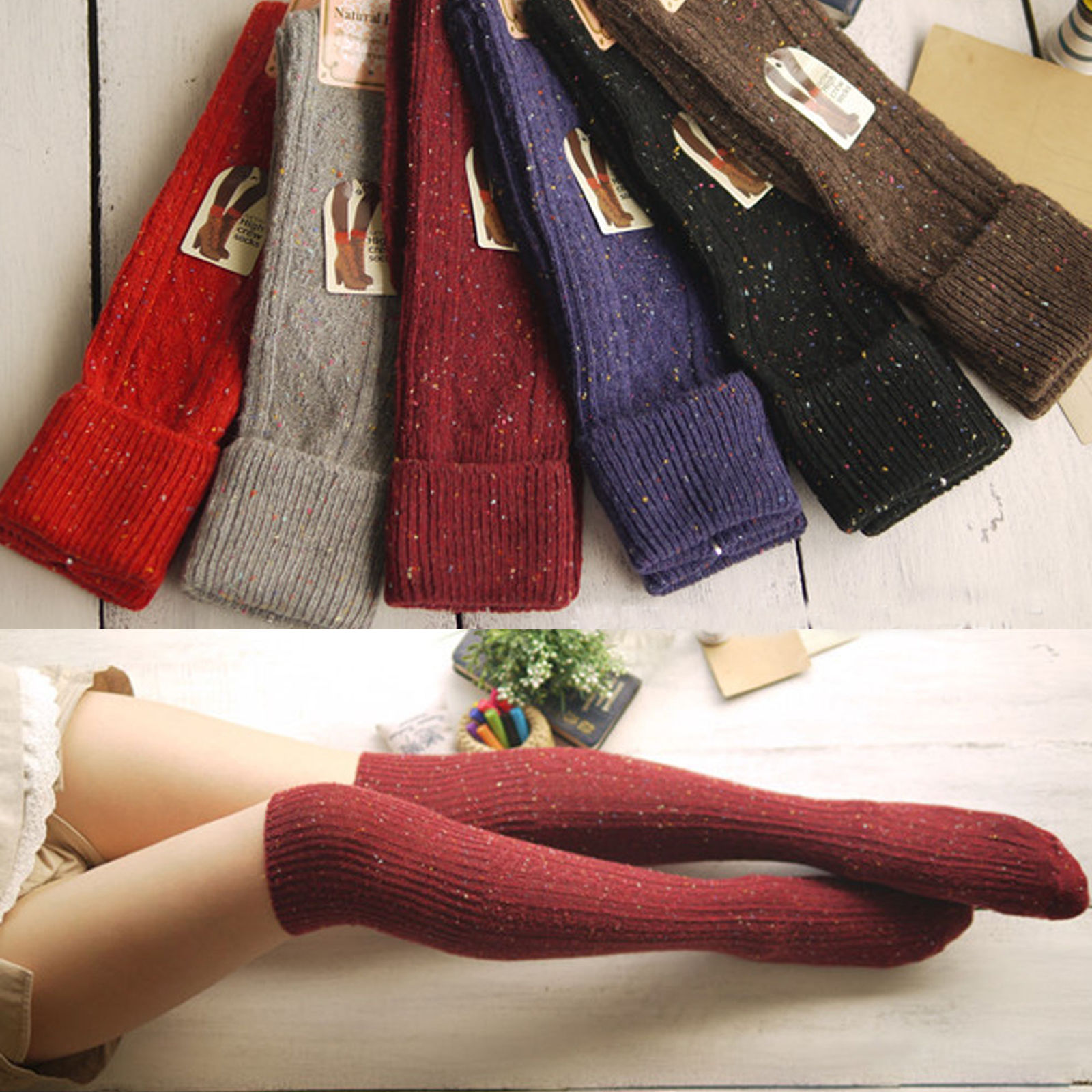 Fashion Women Knit Cotton Over Knee Thigh Stockings Pantyhose High Stockings