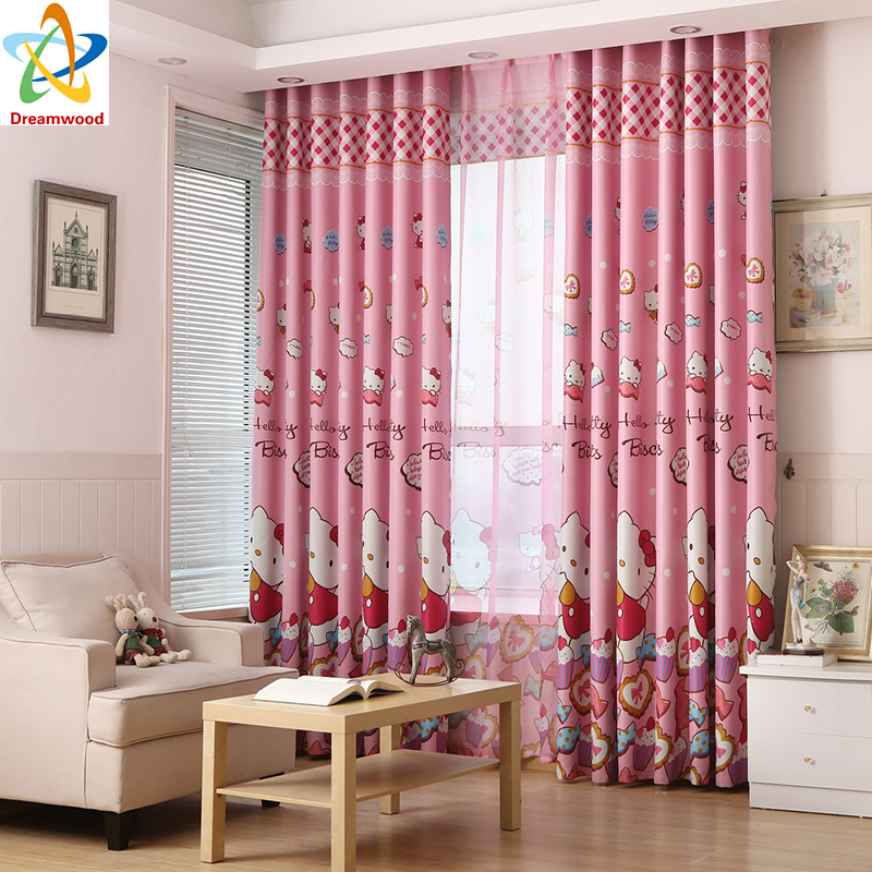 Dreamwood hello kitty printed high shading window curtains for girls bedroom kids curtains with ...