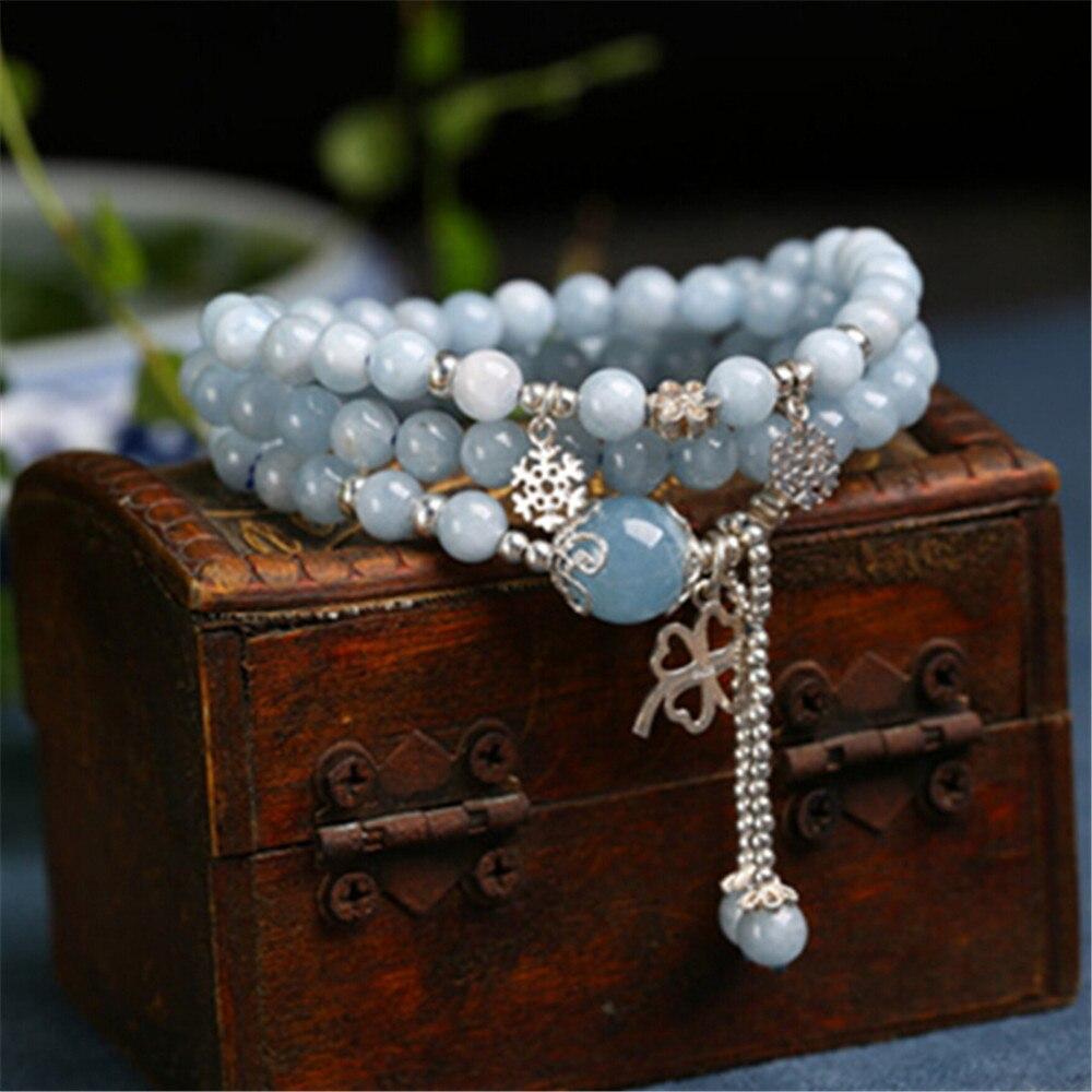 Populaire 5mm naturel bleu pierre dame perles Bracelet Multi couche solide 925 en argent Sterling Bracelet bricolage accessoires en gros