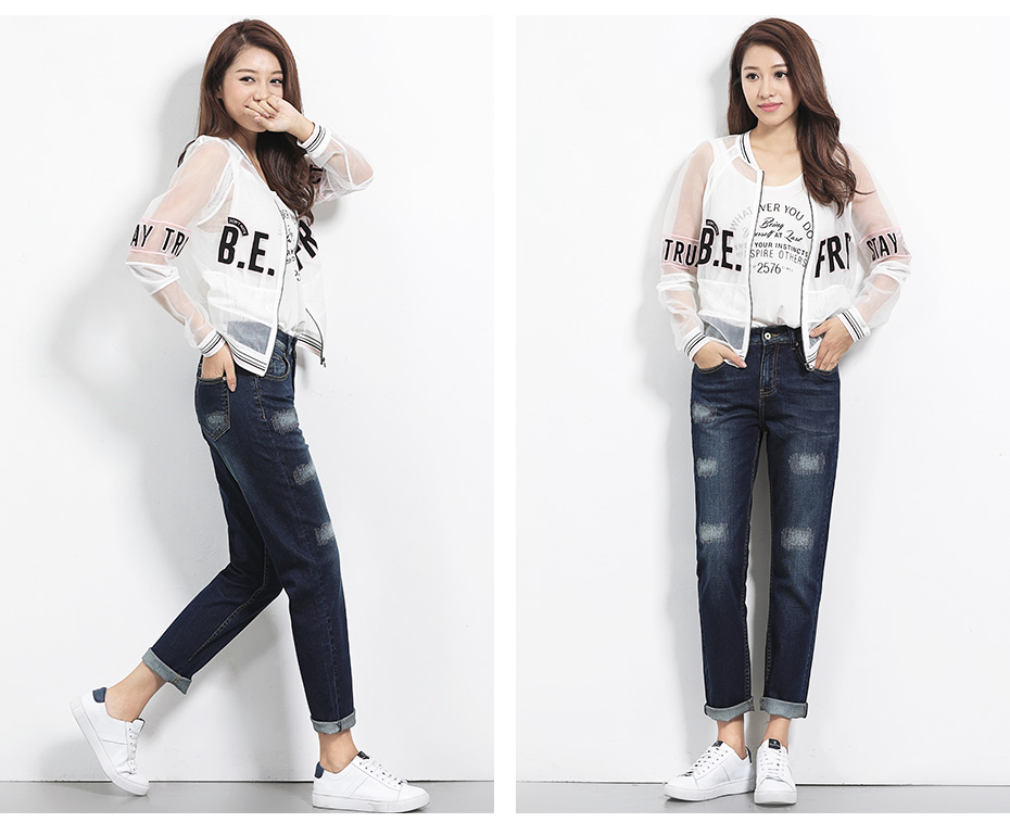 17 New arrival Jeans women Ripped loose style Bleached mid waist low elastic Plus size jeans 40-1KG Available 6