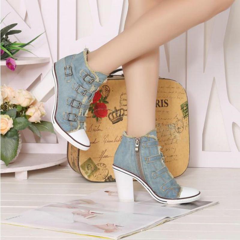 Talons Chaussures Cowboy Denim Haute Casual Décoration Blue Métal Pompes Cheville Canvas Femmes En Hauts Nouveau Mode Automne Toile À Aide De 1qxcXcTCw6