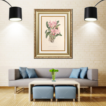 Artcozy Golden Frame Abstract christmas orchid Waterproof Canvas Painting