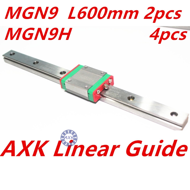 Kossel Mini MGN9 9mm miniature linear slide set: 2pcs MGN9 L- 600mm linear rail with 4pcs MGN9H linear block carriage kossel pro miniature 7mm linear slide 2pcs mgn7 450mm rail 2pcs mgn7h carriage for x y z axies 3d printer parts