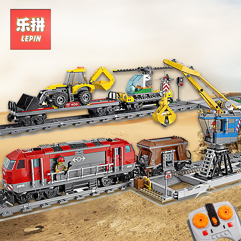 Lepin 02009 02118 02008 City Remote Control RC Train 60098 60095 Model Building Blocks Bricks Educational Toys City Cargo Train [bainily]50pcs large particles numbers train building blocks bricks educational baby city toys