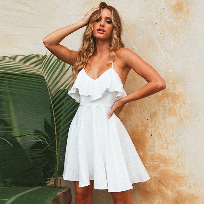 DeRuiLaDy 2018 mujeres verano correas playa vestido Sexy cuello en V espalda abierta encaje Up volantes Mini Vestidos Casual blanco vestido