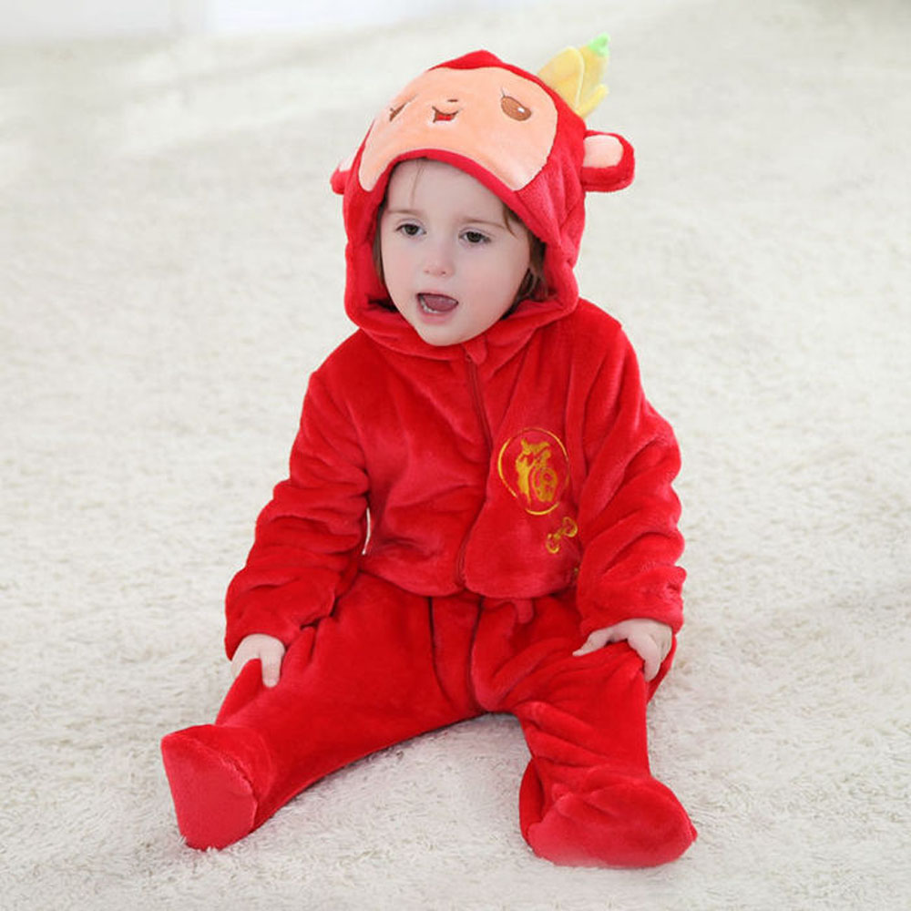 Infant Romper Baby Costume Spring Hooded Long Sleeve Flannel Red Monkey Toddler Romper Newborn Baby Jumpsuit Clothes Baby Romper unisex winter baby clothes long sleeve hooded baby romper one piece covered button infant baby jumpsuit newborn romper for baby