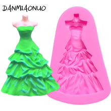 lovely Princess Dress Silicone Mold Food Grade Pastry Cake Tools Decorating Soap Cutter Baking Accessories Dessert Fondant Tools silicone butterfly style baking mold dessert pastry decorating tools