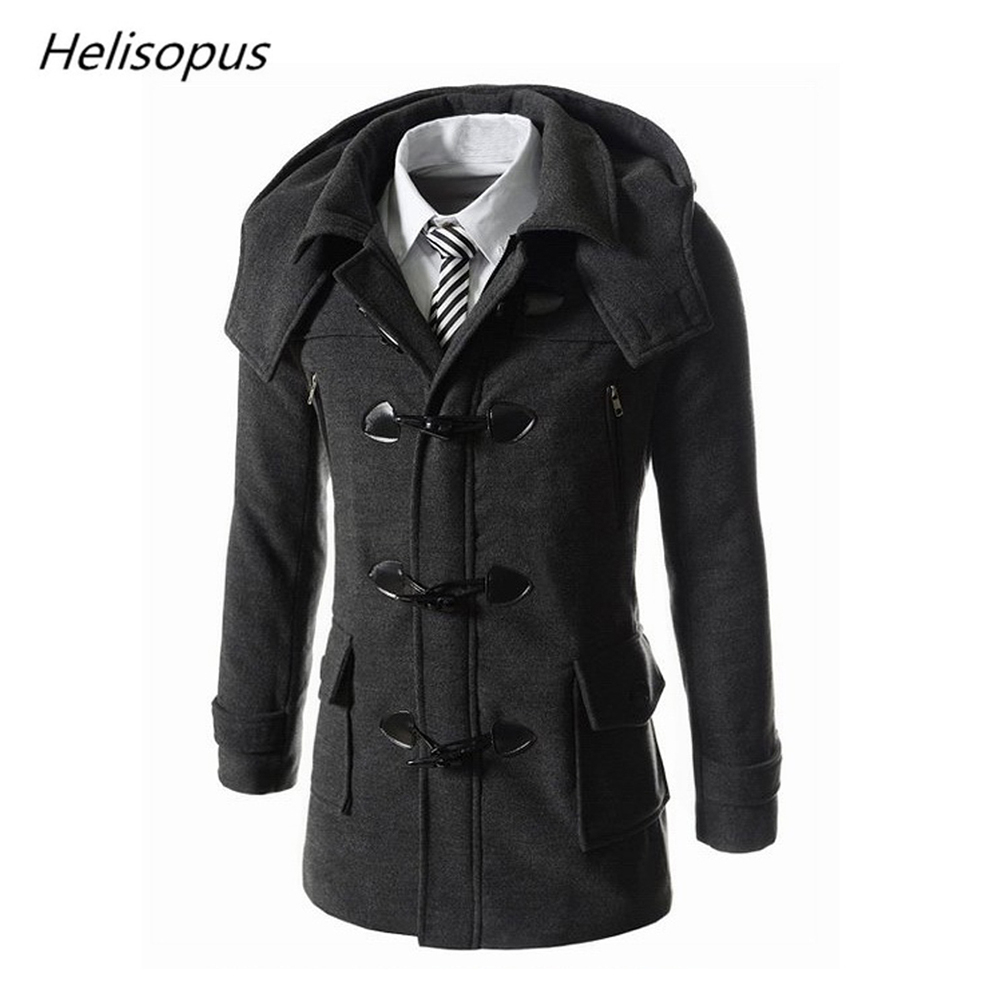 Helisopus Wool Coats Horn Winter Warm-Jackets Black Men's Casual Fashion Button