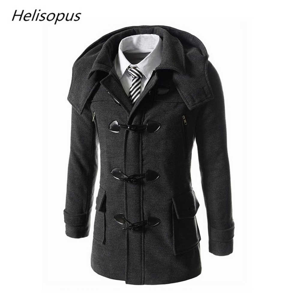 Helisopus Men's Fashion Overcoat Horn Button Casual Wool Coats Men's Black Winter Warm Jackets