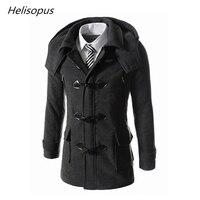 Helisopus Men's Fashion Overcoat Horn Button Casual Wool Coats Men's Black Winter Warm Jackets