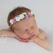 Flower Newborn Headband Tieback Flower Crown Kids Bohemian Crown Headband Children Girls Crown Tiara Headband Hair Accessories(China)