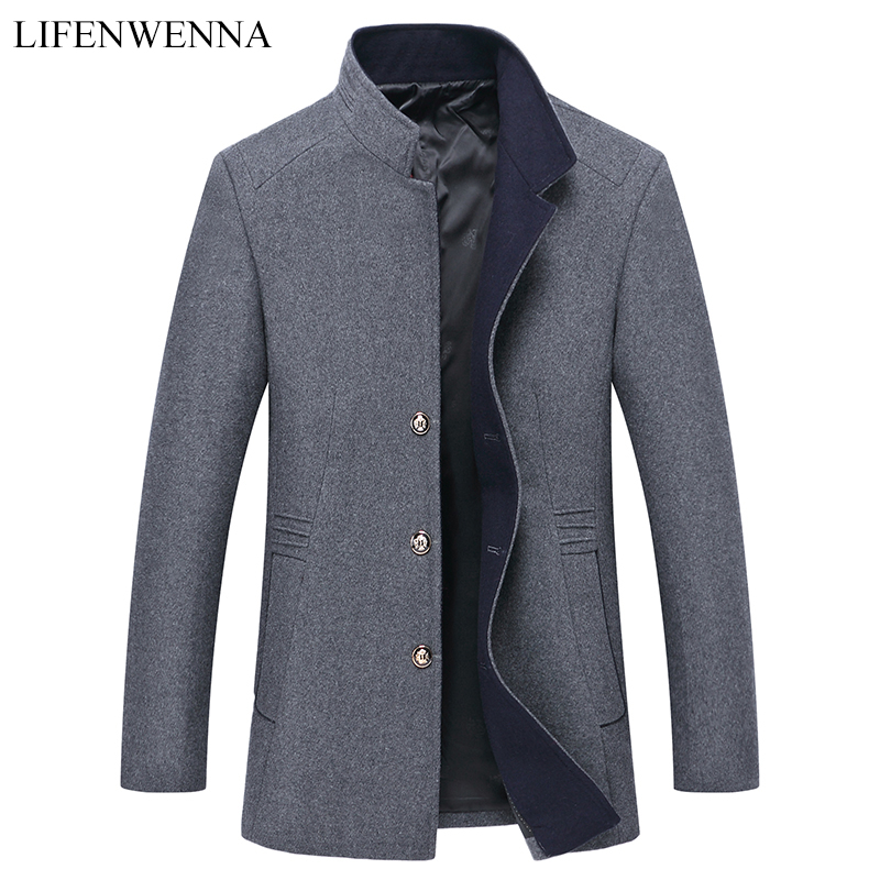 2019 Autumn Men's Solid Coat Wool Coat Men Clothes Slim Fit Gray Blends Mandarin Collar Slim Fit Jacket Mens Overcoat Mens Coats(China)