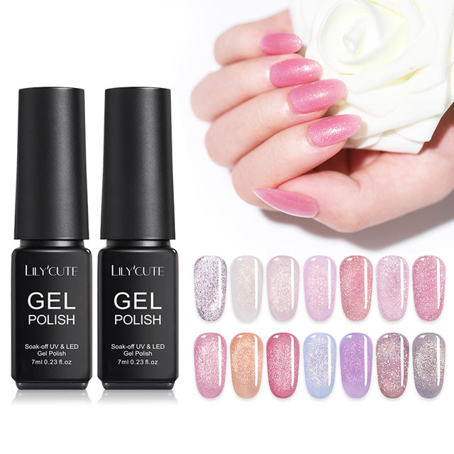 LILYCUTE 7ml Pink Rose Gold Holographic UV Gel