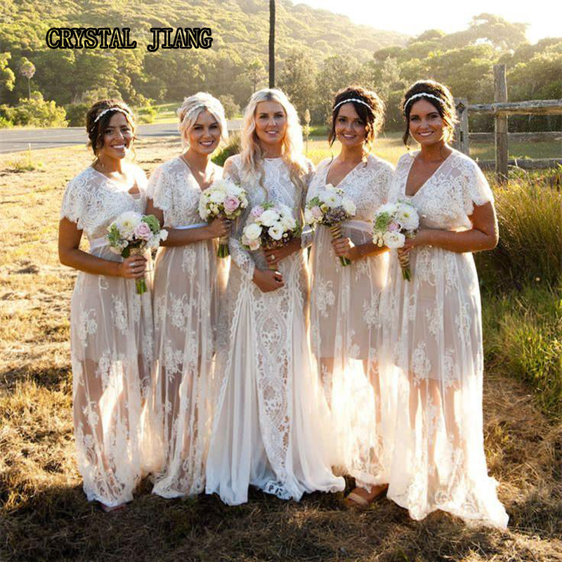 Bohemian Lace   Bridesmaid     Dresses   Long V-neck High Waist Plus Size Ivory And Champagne