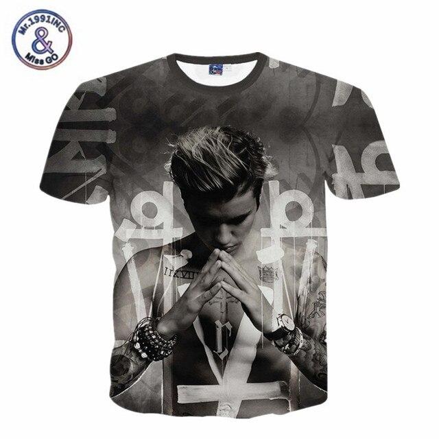 Camiseta Justin Bieber homens homme ropa hombre estrela fãs t caráter camisa  homem camisetas da moda c621804ce4d9f