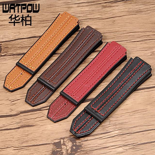 c137933809f ... Red Black Brown High Quality Genuine Calf Hide Leather Watch Strap · DASSARI  S5 Carbon Fiber   Rubber Watch Strap for Hublot Big Bang ...