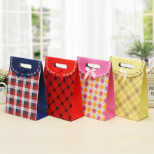 10pcs 16x12x6cm Folded Paper Gift Bags Checked Tartan Grid Printing Cake Candy Chocolate Gift Holder Bags Accessories Carrier