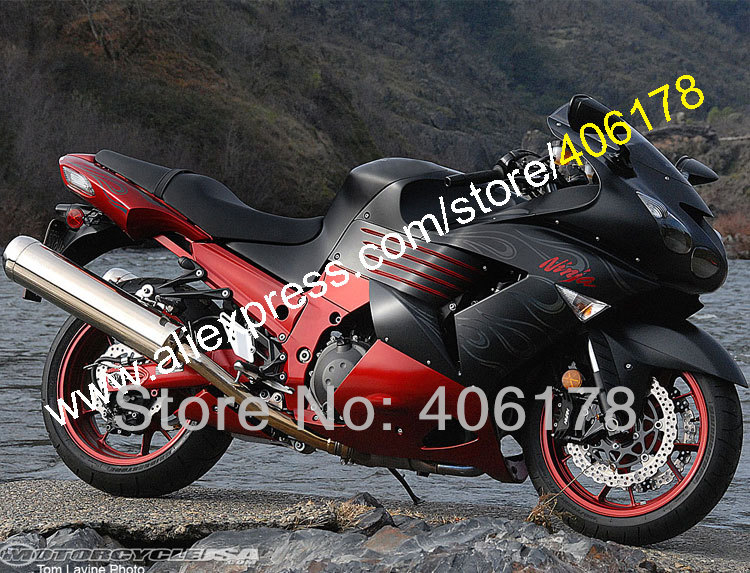 Hot Sales,For Kawasaki Ninja ZZR1400 ZX14 R 06 07 08 09 10 11 ZX-14R ZX 14 R 2006-2011 Flames Fairing Kit (Injection molding)