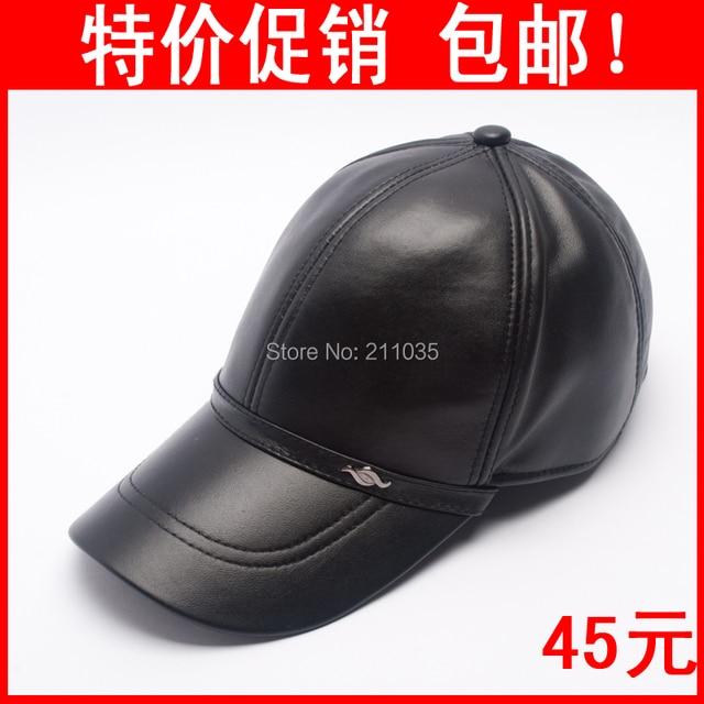 Male autumn winter plus size Sheepskin ear protector baseball cap genuine leather quinquagenarian hat