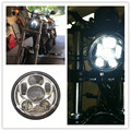 Silver 45W 5.75 INCH Round LED Projection Daymaker Headlight Hi/Low Beam for Harley Davidson Dyna Motorcycle Lights