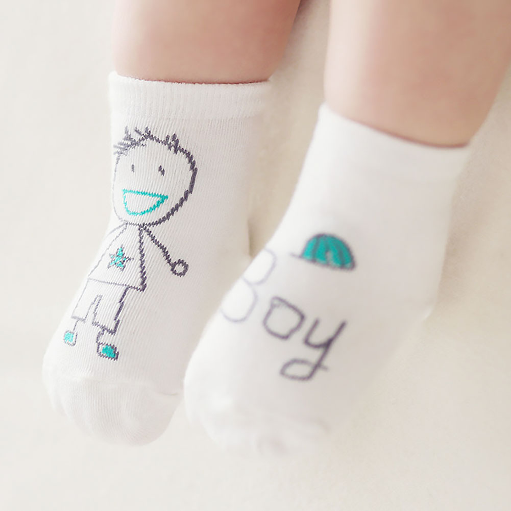 1 Pair Unisex Baby Novelty Cotton Toddler Socks Autumn Winter Spring Anti-Slip Asymmetry Cute Cartoon