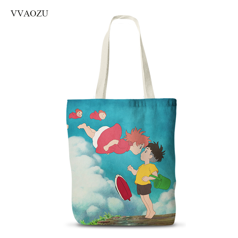 Ponyo Printed Women Canvas Shopping Bags Casual Shoulder Folding Tote Bags Convenience Eco Reusable Grocery Handbag folding reusable shopping bags
