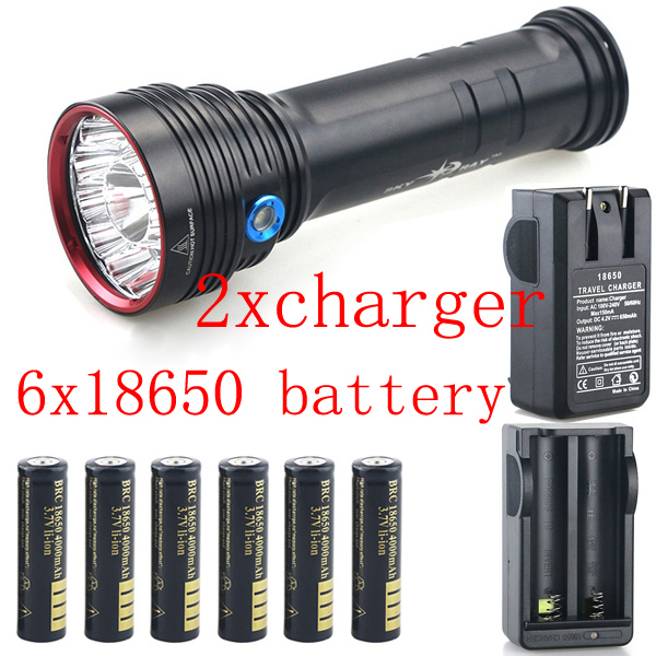 Free Mail 20000 lm 14x CREE XM-L T6 LED Waterproof hunting hiking torch Flashlight torch & 6x18650 Battery +2x Charger kit