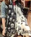Мода Черепа Шарфы Зимы Женщин Осень Искусственного Шелка Wrap Большой Размер Черепа Шарф Атласный Печати Кито Шаблон Шифон Длинные Wrap