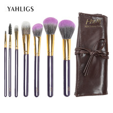 YAHLIGS New Fashion Women Brushes 7pc Foundation Eyeshadow Eyeliner Lips Brush Makeup Set Tools Maquiagem With PU Bag YA43